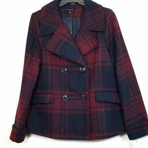 Larry Levine Plaid Winter Coat Jacket Size Large